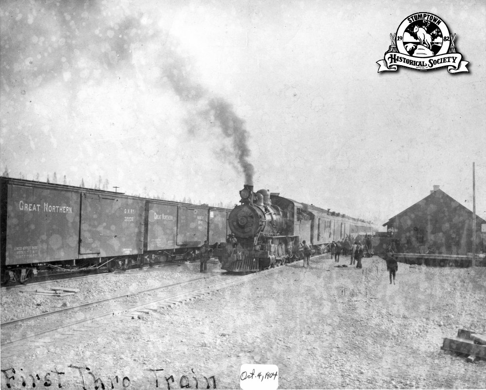 The first train through Whitefish, October 4, 1904.